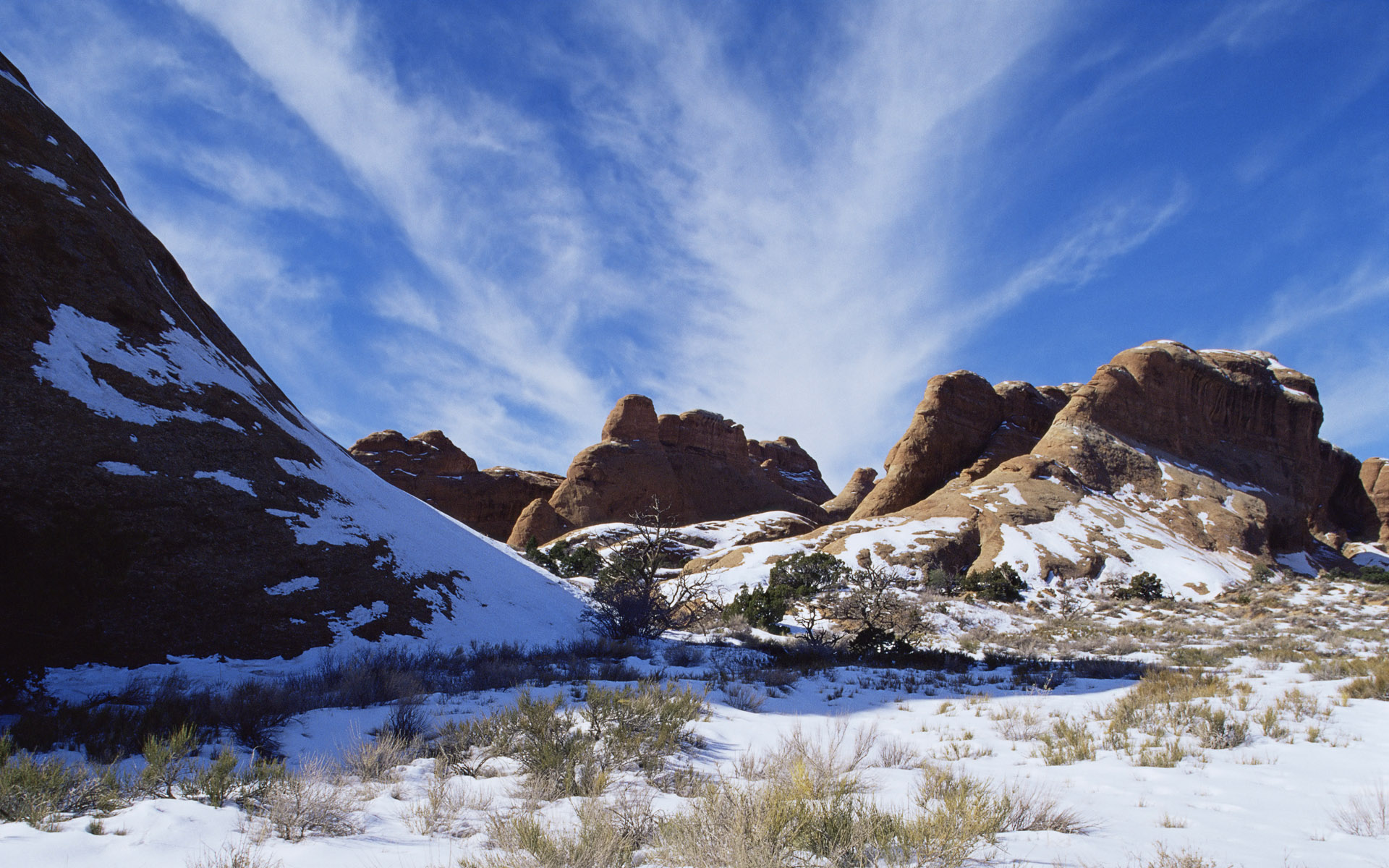 Snow in Arches National Park, Utah, USA